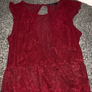 Red lace dressy tank top